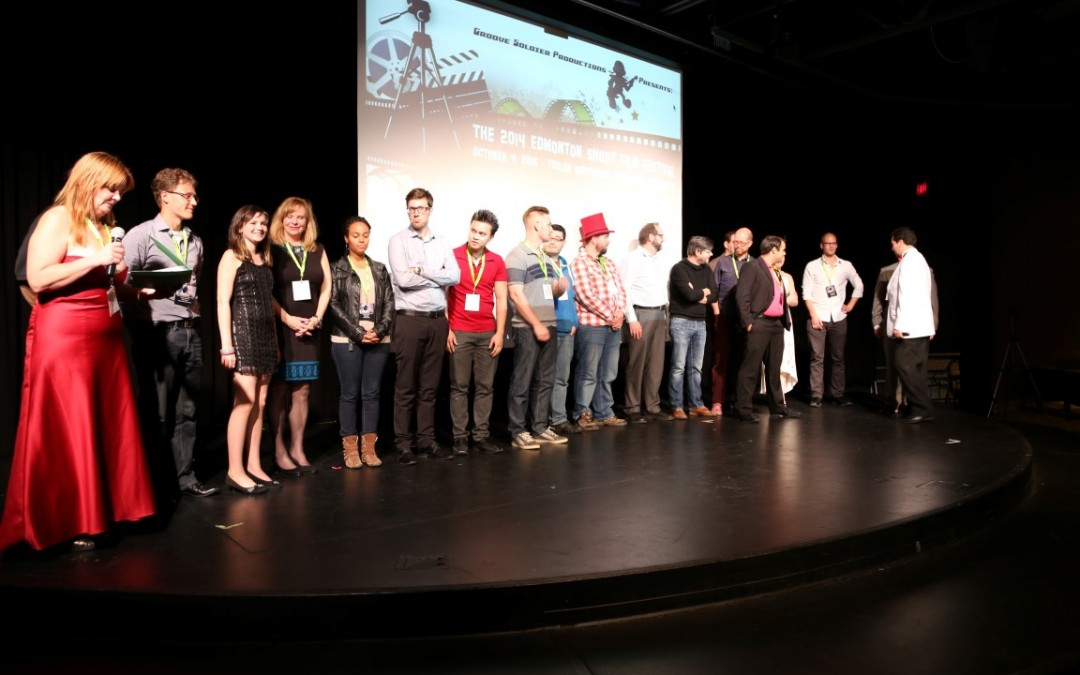 Happy filmmakers grace the stage at the 2014 Edmonton Short Film Festival.